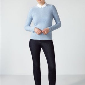 Pure Collection Cashmere Crewneck Blue Sweater